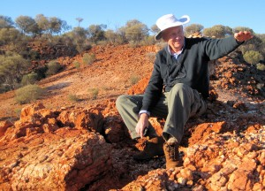 Paul Askins on an outcrop in the Great Victoria Desert